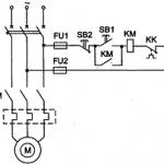 Схема пуска асинхронного двигателя с короткозамкнутым ротором с помощью нереверсивного и реверсивного магнитных пускателей.