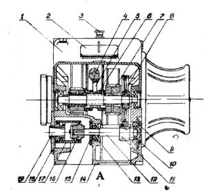 вертикальный разрез корпуса редуктора по промежуточному и моторному валу
