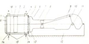 Схема горизонтального одноступенчатого компрессора двойного действия