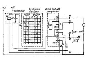 Схема управления с контроллером КП-2026 и контактором