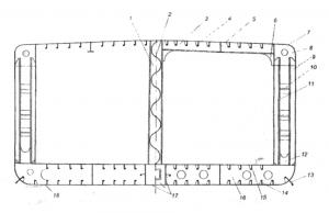 Мидель шпангоут танкера по смешанной системе набора с двойными бортами и с двойным дном