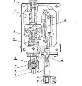 Конструкция реле КРМ с датчиком давления