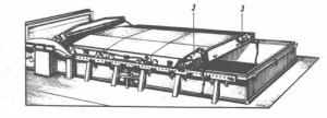 Люковое закрытие с электроприводом. 2 - гидравлический цилиндр; 3 -электродвигатель