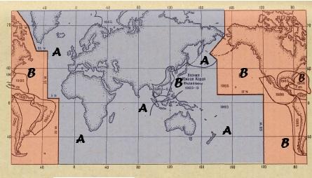 Границы регионов А и Б системы ограждений МАМС