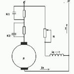 Принципиальная схема автоматизированного одноступенчатого пуска двигателя постоянного тока смешанного возбуждения в функции ЭДС.