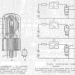 Схема простейшего усилительного каскада на трех электродной лампе триоде