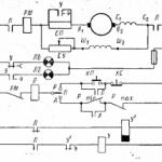 Схема управления электроприводом насоса горячей воды с применением датчика температуры на постоянном токе.